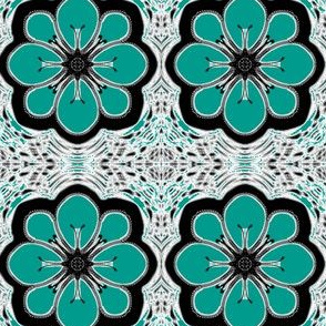Summer Teal Moon Flowers on Filigree Mesh