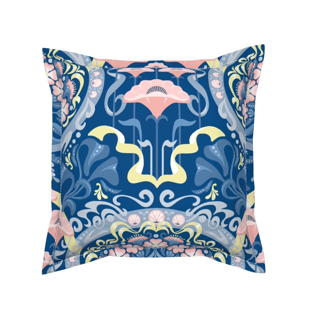 Serama Throw Pillow featuring Art Nouveau Poppies in Classic Blue and Pink by m_harrison_design