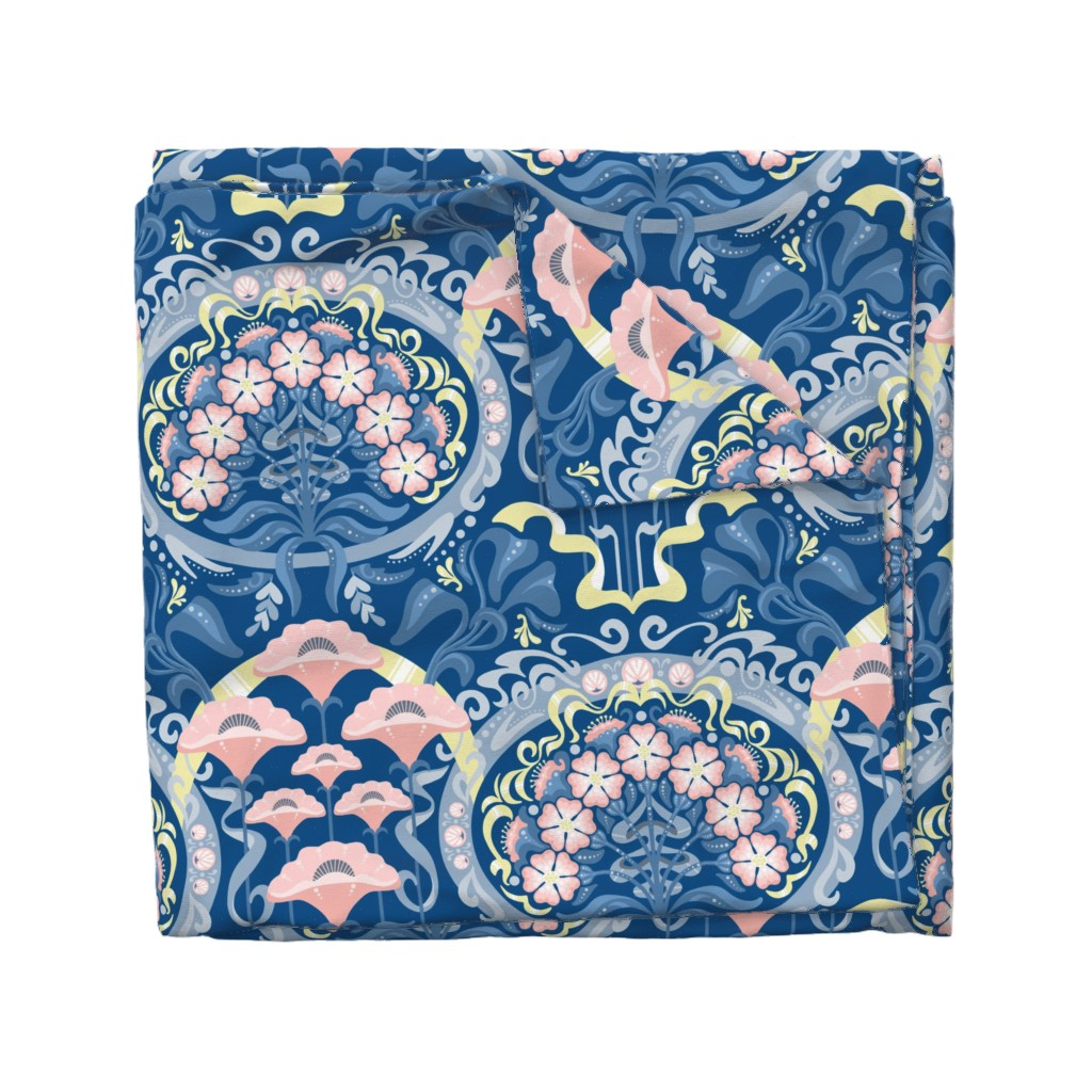 Wyandotte Duvet Cover featuring Art Nouveau Poppies in Classic Blue and Pink by m_harrison_design