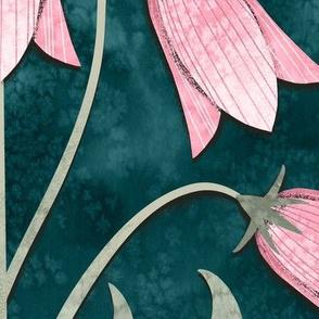 Bellflower Emerald Green and Pink / Jumbo