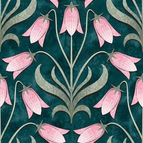 Bellflower Emerald Green and Pink