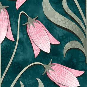 Bellflower Emerald Green and Pink / Large Scale