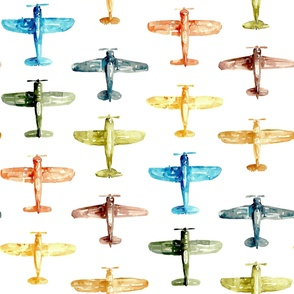 Colorful Watercolor Airplanes