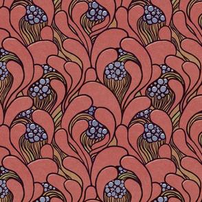 Art nouveau floral waves dark muted red
