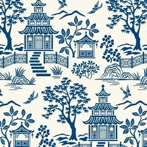 Chinoiserie pagoda Blue On White small