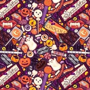 Creepy Halloween Candy on Purple 1/2