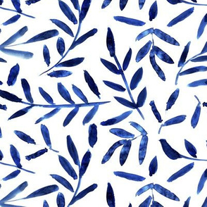 Classic blue watercolor leaves ★ painted leaf pattern for modern home decor, bedding, nursery