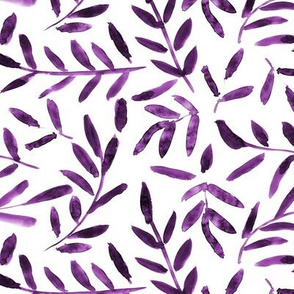 Amethyst watercolor leaves - purple branches