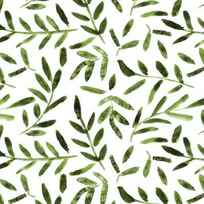 Watercolor khaki leaves ★ painted leaf pattern for modern home decor, bedding, nursery