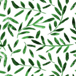 Fresh greenery ★ watercolor leaves for scandi modern tonal home decor, bedding, nursery