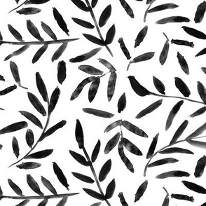 Noir leaves ★ watercolor nature in black and white for modern home decor, bedding, nursery