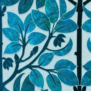 Parrots Art Nouveau (Blue)
