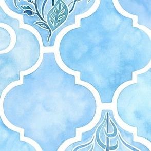 Watercolor Arabesque Tiles with Art Nouveau Focal Designs