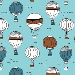 Little hot air balloon breezy sky dreams nursery blue rust copper