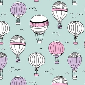 Little hot air balloon breezy sky dreams nursery mint pink lilac