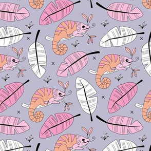 Little lizard friends jungle kameleon rainforest animals and leaves girls pink lilac orange summer kids