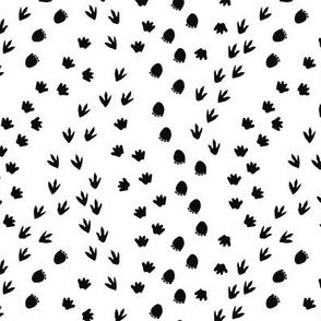 Dino Tracks Black and White