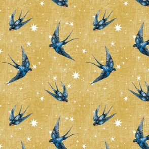 4 inch blue swallow bird in stars on gold mustard ochre, hand-painted, hand-drawn, magic, wizard, unisex