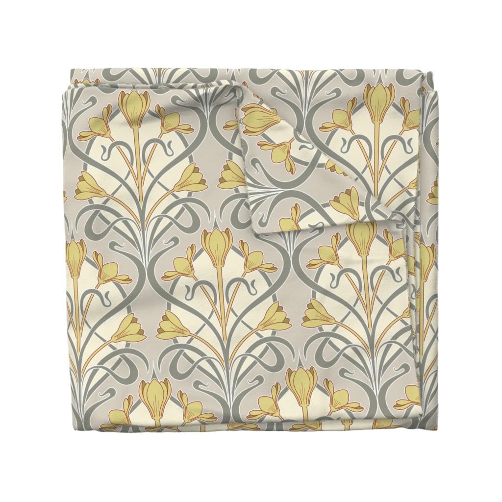 Wyandotte Duvet Cover featuring Crocus Art Nouveau by mia_valdez