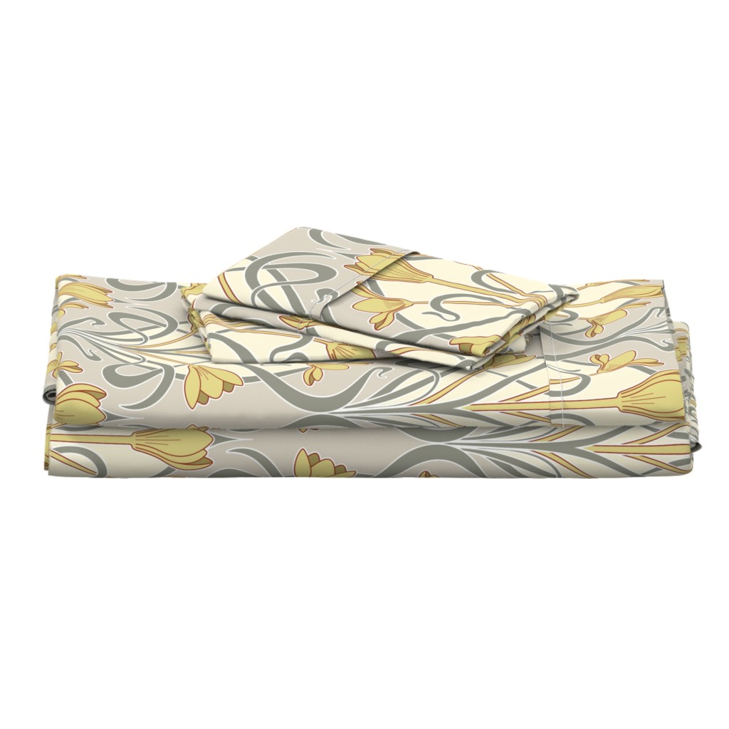 Langshan Full Bed Set featuring Crocus Art Nouveau by mia_valdez