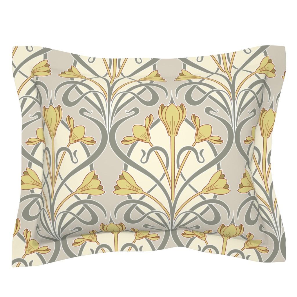 Sebright Pillow Sham featuring Crocus Art Nouveau by mia_valdez