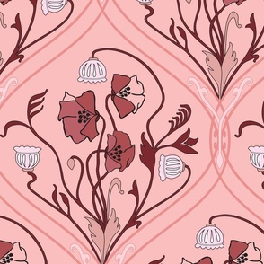 Art Nouveau Poppies in Pink