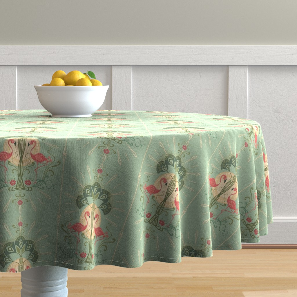 Malay Round Tablecloth featuring Nouveau Flamingo by studioxtine
