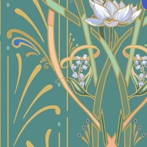 Art Nouveau Dragonflies | Med Cool Green