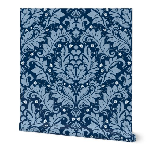 Large Scale Acanthus Damask in Blues