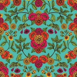Vibrant Boho Flowers - Turquoise, Magenta, Orange & Yellow Floral Pattern