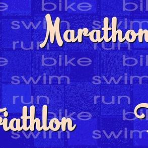 Marathon Triathlon-Peach Lettering