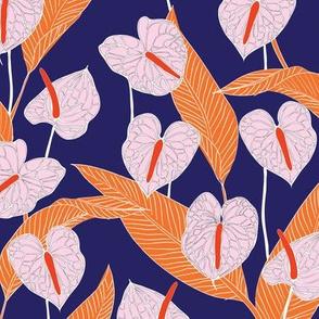 SMALL art nouveau anthuriums - indigo