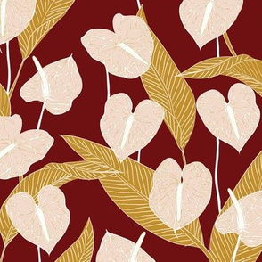 SMALL art nouveau anthuriums - rust mustard and pale peach
