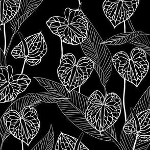 SMALL art nouveau anthuriums - black and white