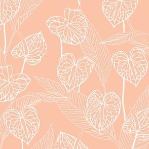 SMALL art nouveau anthuriums - peach