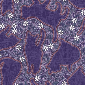 Shibori Cats - Purple