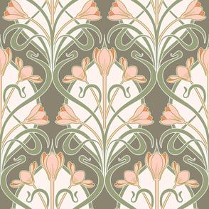 Crocus Art Nouveau_Olive-Sage-Salmon