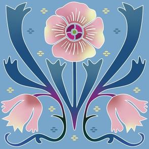 pink Art Nouveau flowers