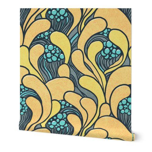 Art nouveau floral waves (Large scale)