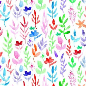 Fairytale watercolor woodland flowers in red, blue, green ★ watercolor colorful florals for nursery