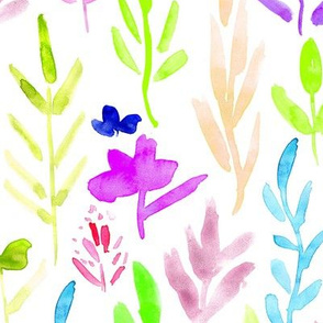 Fairytale meadow ★ watercolor large scale florals for modern colorful joyful nursery