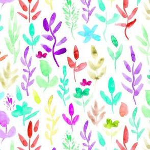 Fairytale meadow in aqua, purple ★ watercolor flowers and plants for modern nursery
