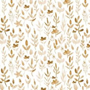 Earthy boho neutral leaves - watercolor leaf and wildflowers 255