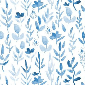 Fairytale blue meadow ★ watercolor tonal florals and plant for modern home decor, bedding, nursery
