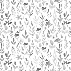 Silver grey watercolor tiny scale meadow - florals leaves wildflowers