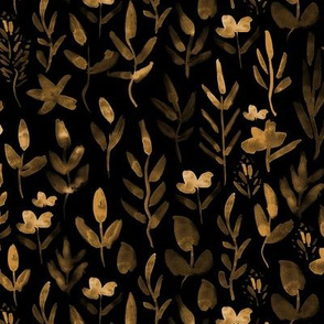Fairytale meadow in gold on black ★ hand painted flowers and plants for neutral modern nursery