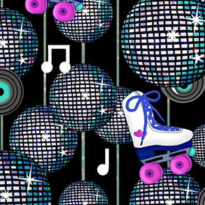 Disco Ball Invasion at the Roller Rink/ Retro 80's Blue Hot Pink Aqua on Black