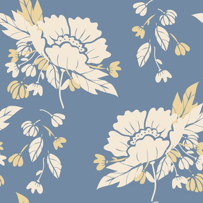 Peony Garden -Cream & Gold Flowerson Faded Denim