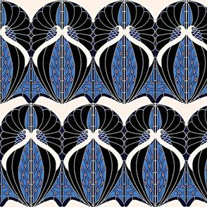 Peacocks Blue Art Nouveau (Small)