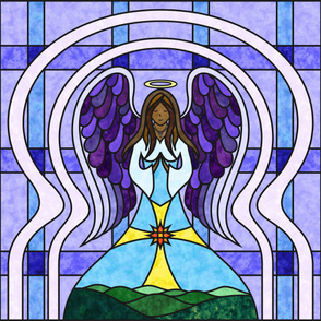 Praying Angel Stained Glass Quilt Panel - Dark Skin - Purple / Blue 42 Inch